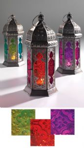 Lantern~Moroccan Style Hanging Lantern Large Tonal Glass Tea Light Candle Holder~Fair Trade Gift by Folio Gothic Hippy LT12